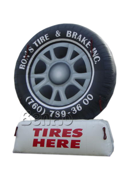 Z144 Free shipping 10ft H giant advertising inflatable tire balloon,with one air blower
