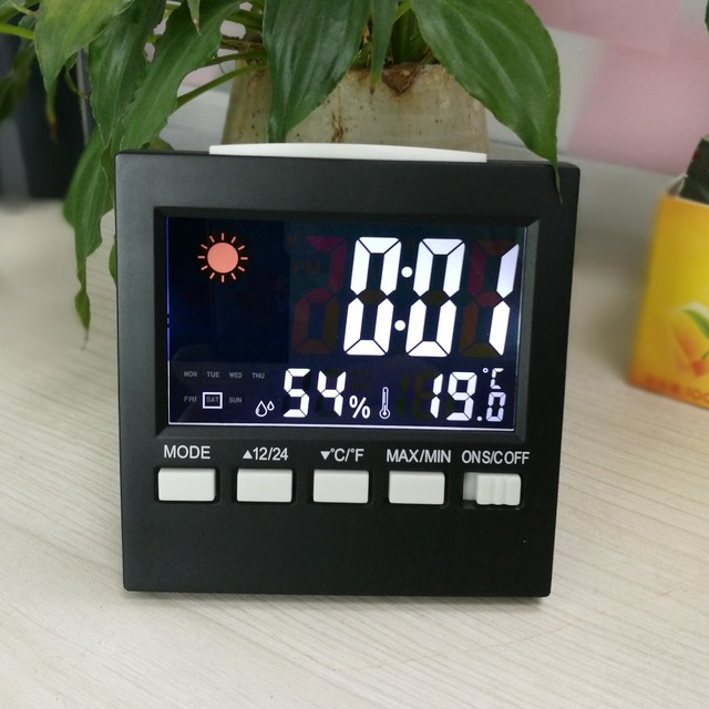 Room Indoor Electronic Temperature Humidity Meter Digital Thermometer Hygrometer Weather Station with Alarm Clock Snooze