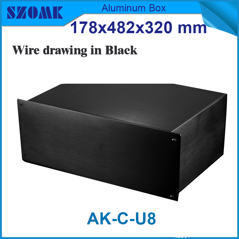 1 piece extruded aluminium box 19 inch junction housing case for rack aluminium housing 178(H)x482(W)x320(L) mm 1 piece free shipping powder coating aluminium junction housing box for waterproof router case 81 h x126 w x196 l mm
