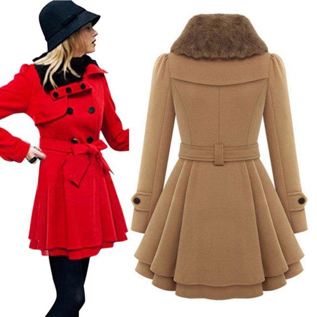 2016 Fashion Europe Autumn Winter Coat Belt Buckle trench Coat Double-breasted Long Sleeve Casual CoatLQ