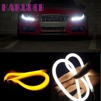 New 2X 60CM Flexible Tube Guide Car LED Strip White DRL Amber Turn Signal Light DIY