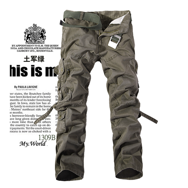 2017 Men's Cargo Pants Casual Army Green Big Pockets Pants Military Overall Male Outdoors High Quality Long Trousers 28-42 Plus 1