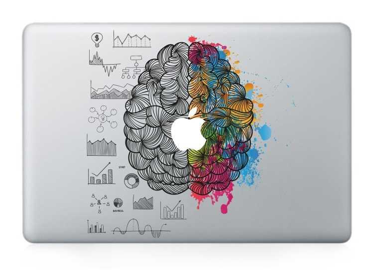 GOOYIYO-Laptop Vincy Từng Phần Decal TỰ LÀM Cá Tính Miếng Dán Trái & Phải Não In Da Cho Macbook Air Pro Retina thanh cảm ứng