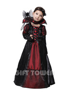 Evil Queen Costume Girl Black Vampire Princess Children Halloween Costume Performance Dress Fantasia Vestido Party Suit