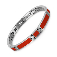 Red Glue Stainless Steel Magnet Bracelet Three Buttons Magnet Bracelet