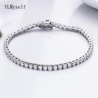 Classic 17.5 cm tennis bracelets Real 925 silver jewelry 3mm crystal 5A Zironia Eternal wedding luxury sterling silver Bracelet