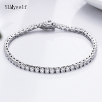 Classic 17.5 cm tennis bracelets Real 925 silver jewelry 3mm crystal 5A Zironia Eternal wedding luxury sterling silver Bracelet