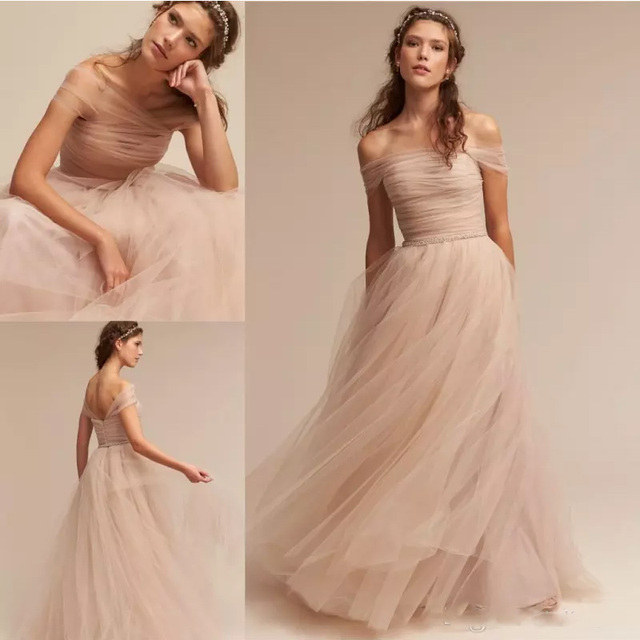 a05db0b2d83 Nude 2017 BHLDN Wedding Dresses Off The Shoulder Delicate Sash Bridal Gowns  Floor Length A Line Backless Wedding Gown