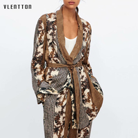 2019 New Print 2 Piece Set Women Vintage Belt Long Sleeve Female Outfit Clothing Blazer Coat And Pants Sets Women's Pant Suits