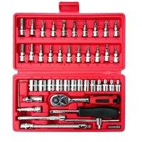 46 в 1 комбинированный гаечный ключ, Набор бит, храповый инструмент динамометрические ключи, комплект для ремонта автомобиля, комплект ручны...