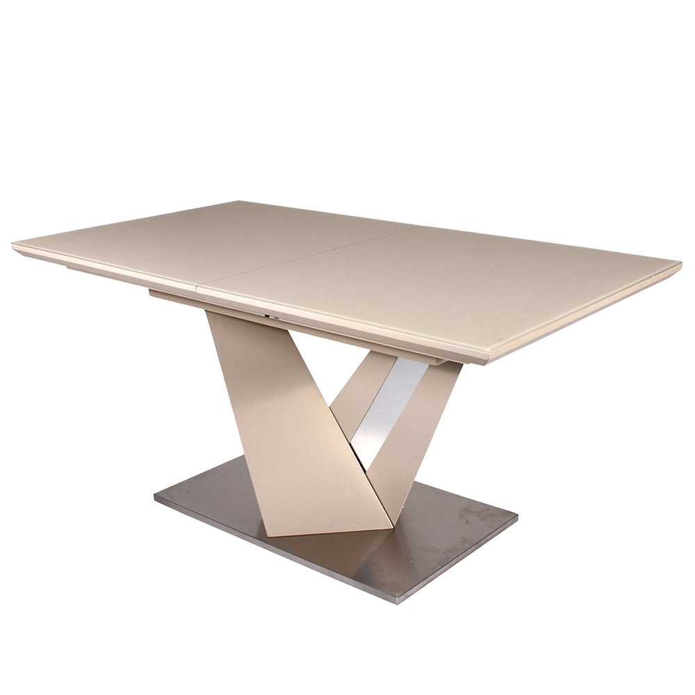 Fancy-Fix Foldable design dining table kitchen Agate beige stainless steel folding table for dining room furniture modern fancy fix comfortable bow shaped kitchen chair black leather dining chair for kitchen ergonomic design dining room furniture