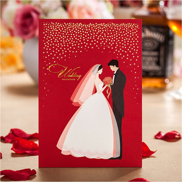 Red White Wedding Invitations 2017 Bridal Groom Invitation Cards With Envelope Convites Casamento As