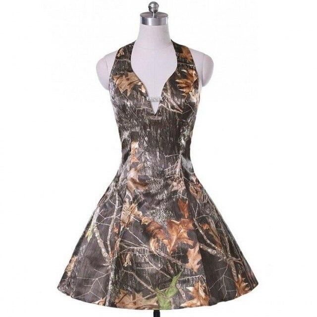 iLoveWedding Short A Line Camo Wedding Dresses Sleeveless Halter ...
