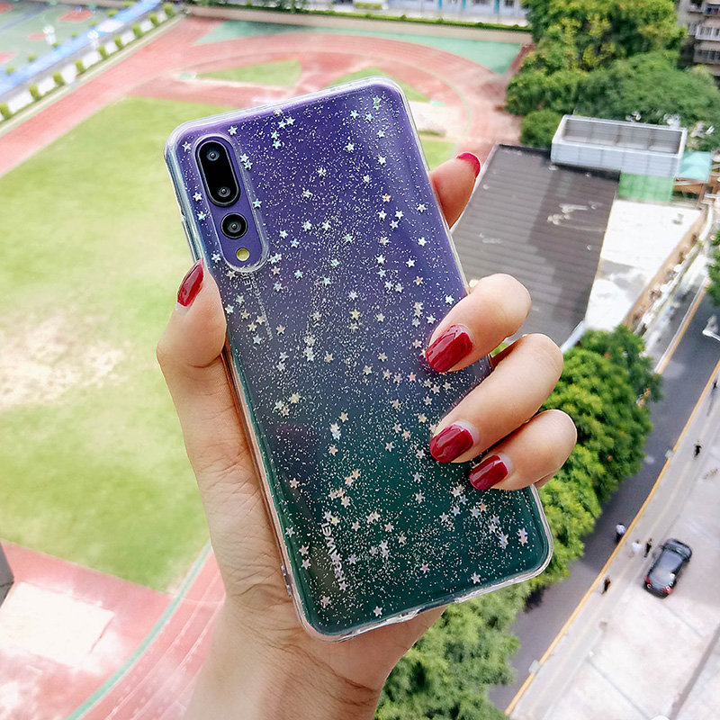 Cute Clear Bling Star Case For Huawei p20 lite p30pro honor8x Soft Silicon Glitter Coque Cover p30 Nova 3i