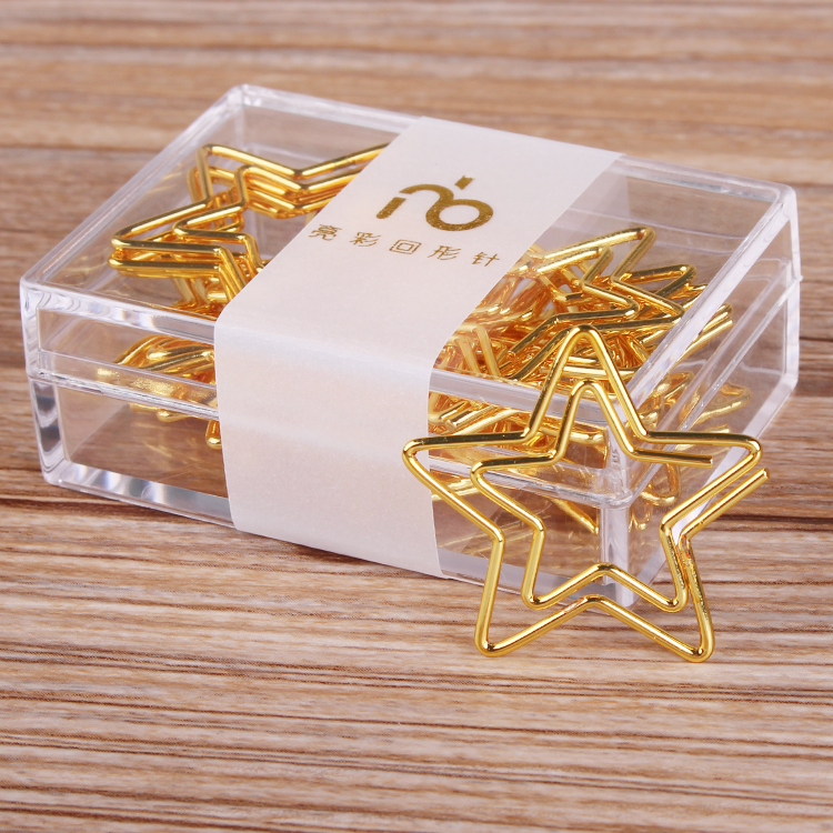 Five Pointed Star Paper Clip Metal Bookmark Creative Cute Safety Paper Clip Customization Bookmark Paper Clips Gold Paper Clips