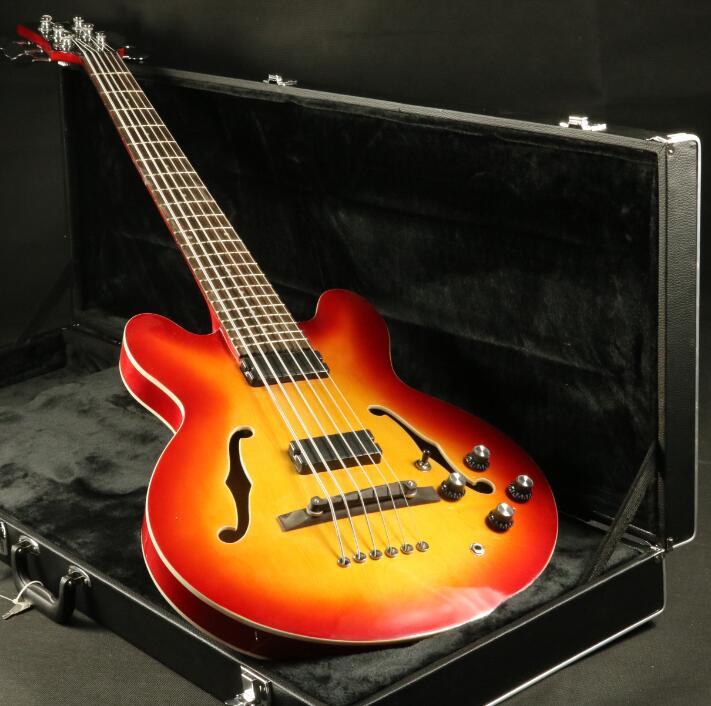 6 strings semi hollow body electric bass guitar c335a style cherry burst strings thru body good. Black Bedroom Furniture Sets. Home Design Ideas