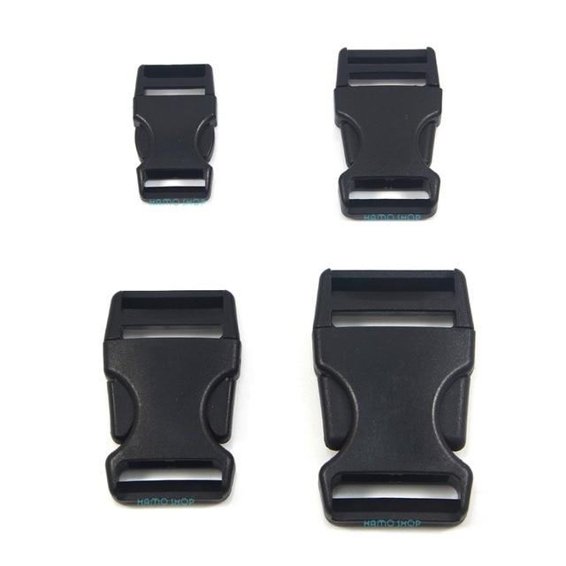 4 pcs Mix 4 tamanhos liberação fivela Paracord fecho cinto pulseira de  plástico preto Sliders CK01 3c54e1e00de