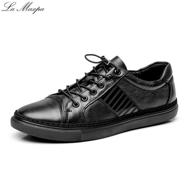 new concept 2aa6b ac237 2017 Otoño Nuevas Zapatillas de deporte de Los Hombres a prueba de agua  Zapatos Corrientes de Cuero Salvaje ...
