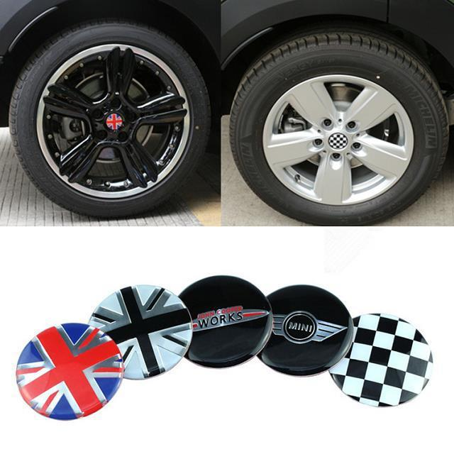 4pcs john cooper wheel hub sticker center cap emblem. Black Bedroom Furniture Sets. Home Design Ideas