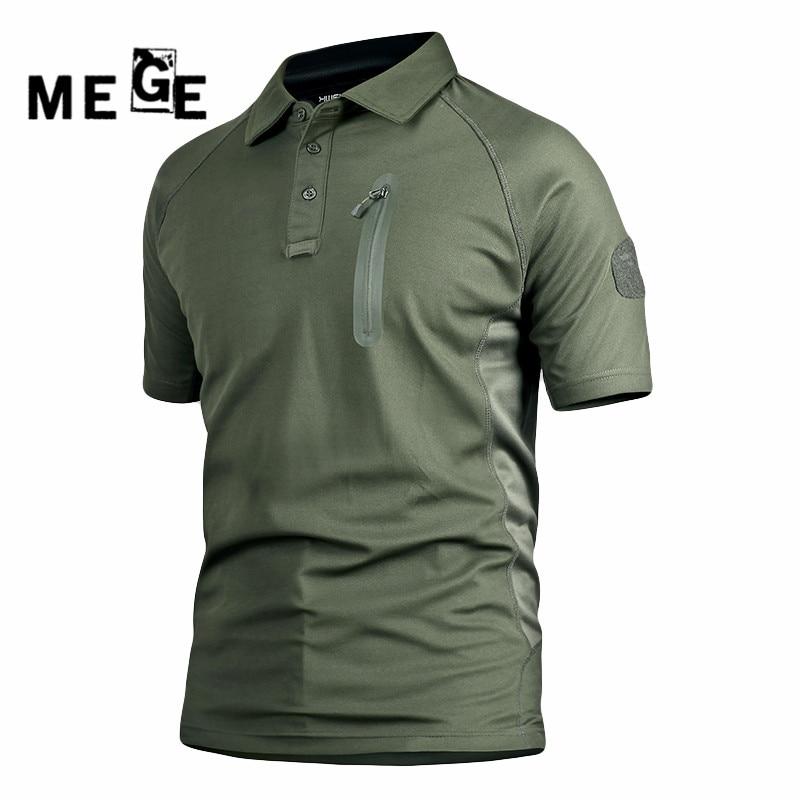 MEGE nyári szabadtéri mászás férfi rövid ujjú POLO, vadászat túrázás kemping sport hadsereg SWAT gyors szár ing, sport pólók