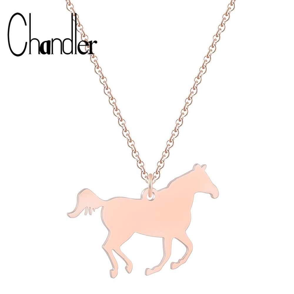 Chandler Stainless Steel Horse Necklace For Women Gold Color Racing Horse Running Rodeo Clothing Costume Jewelry Accessories