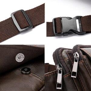 Image 5 - Поясная Сумка MVA мужская кожаная, забавная сумочка на пояс для денег, телефона, дорожный клатч на ремне на плечо, 8966