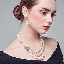 Luxury Jewelry Multilayer Pearl Beads&Crystal Beads Necklace  Romantic Wedding Party Accessory