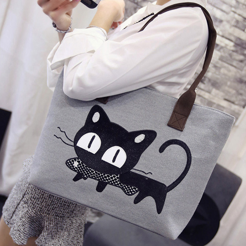 Popigist 2017 Special sale Bags women canvas cat fish cartoon printed cut shopper bags casual tote big capacity lady's handbags new woman shoulder bags cute canvas women big bags literature and art cartoon girls small fresh bags casual tote