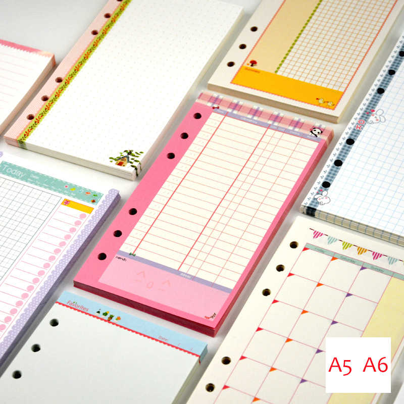 45sheets A5 a6 a7 printed spiral planner paper, ring binder filler papers. cute colorful daily weekly monthly to do dots blank