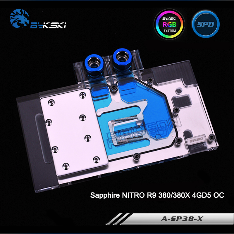 Bykski A-SP38-X Full Cover Graphics Card Water Cooling Block RGB/RBW/ARUA for Sapphire NITRO R9 380/380X 4GD5 OC bykski a xf37bwpk x full cover graphics card water cooling block for xfx r9 370 370x 380 380x