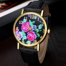 Women Watches Mens Luxury High Quality Delicate Dropshipping Exquisite Analog Quartz Wrist Watch Leather Rose Floral Printed 4*