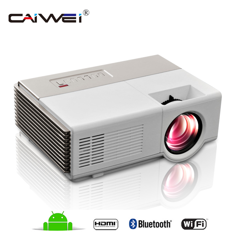 CAIWEI Portable Projector wifi Android Portable Lcd led projector full HD 1080P home cinema theater Video Proyector for labtop wzatco led96 tv projector full hd 1080p android 4 4 wifi smart rj45 3d home theater video proyector lcd projector beamer for ktv
