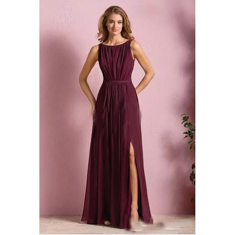 Elegante vino tinto gasa largos vestidos de dama de 2017 vestido de ...