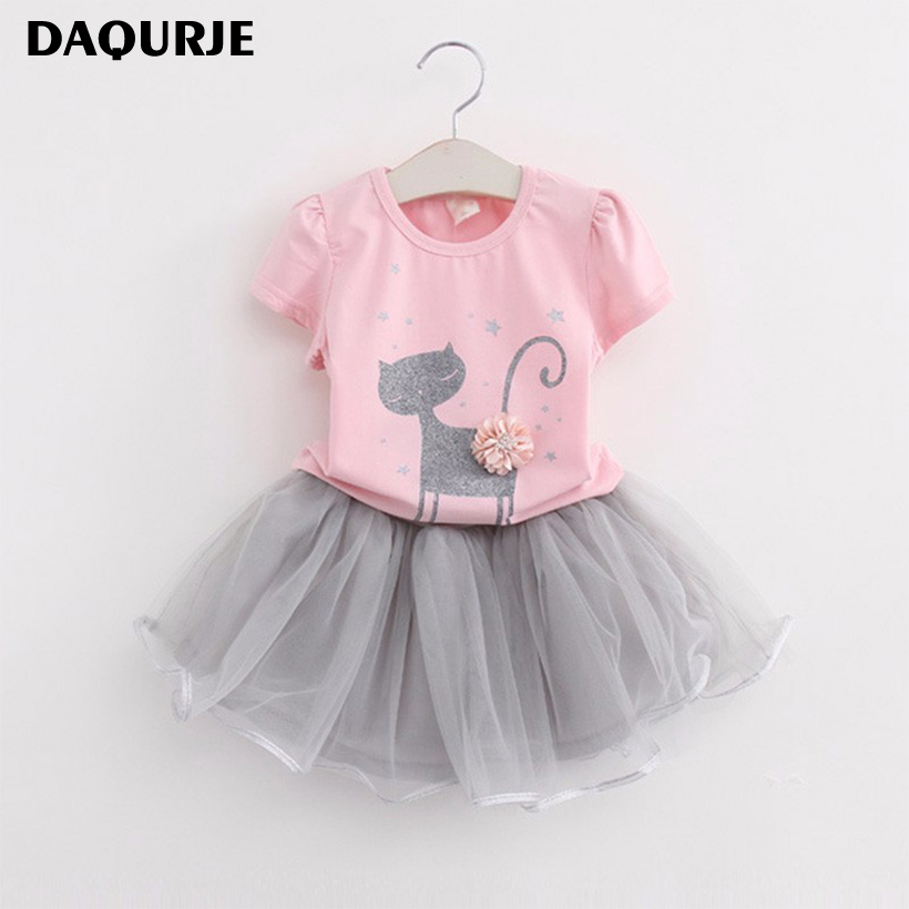 New 2017 Summer Girls Dress Clothing Sets Fashion Cotton Short Sleeve T-shirt+Organza Skirts Children Kids Girl Clothes 2pcs Set