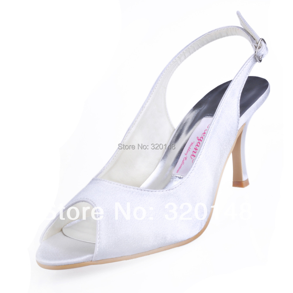 Woman High Heel Peep Toe Slingback Satin Pumps Bride Bridesmaid Prom Evening Dress Wedding Bridal Shoes WM-002 White Silver klaus gensicke the mufti of jerusalem and the nazis the berlin years