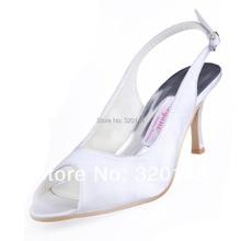 Woman High Heel Peep Toe Slingback Satin Pumps Bride Bridesmaid Prom Evening Dress Wedding Bridal Shoes WM-002 White Silver