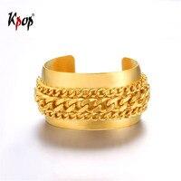 Kpop Wide Open Bangle Bracelet Gold Silver Black Color Fashion Jewelry Cuban Chain Cuff Bracelet For