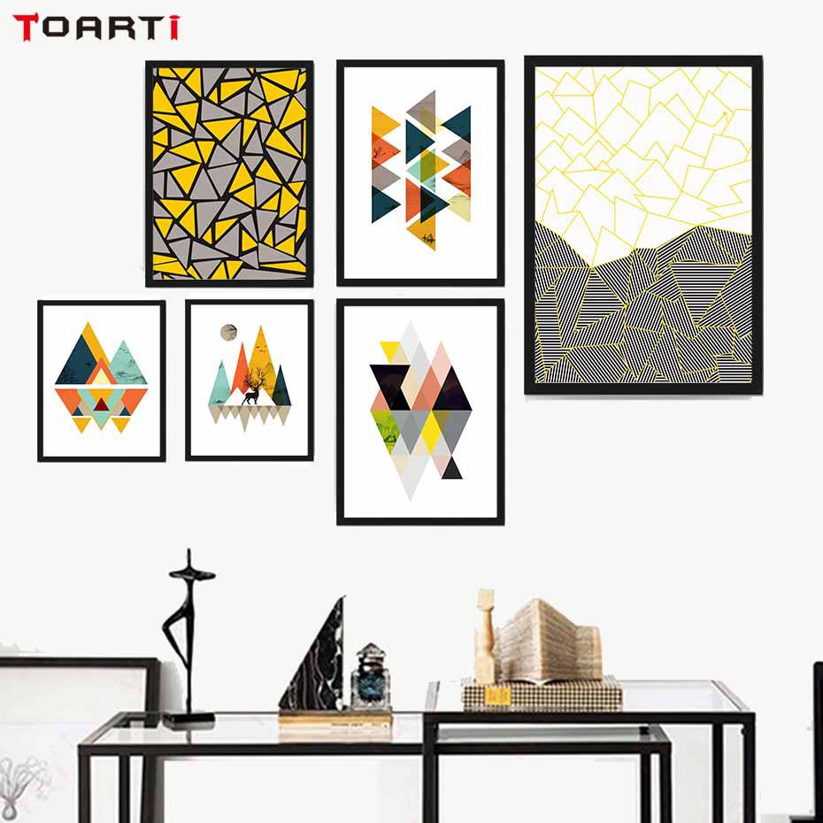 Creative Geometry Graph Canvas Painting Wall Decor Abstract Colorful Pattern Picture For Living Room Kids Decoration