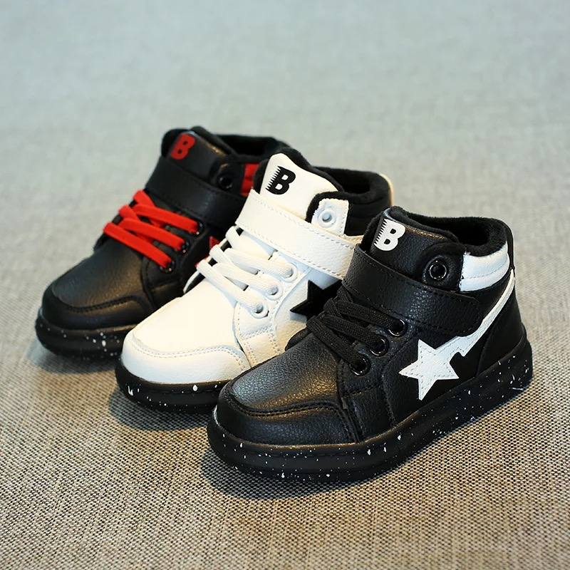2016 brand design new fashion warm star PU leather sport girls school sneakers children ankle snow boots kids girls Winter shoes 2016 new fashion children martin boots girls boys winter shoes kids rain boots pu leather kids sneakers waterproof anti skid