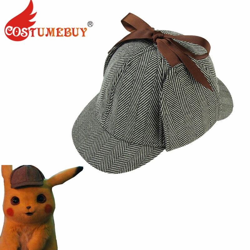 Costumebuy Pokemon Detective Pikachu Cosplay Hat Pikachu Headwear Detective Sherlock cosplay Cap Detective Pikachu Chapeau