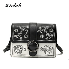 21club brand new women embroidery foral cover small flap handbag hotsale ladies party purse messenger crossbody shoulder bags