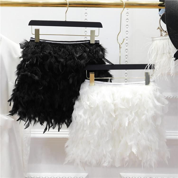 2018 Winter New Women's Feather Skirt Princess Sweet Skirt Ladies Fashion Black / White Feathers Skirts Feminina