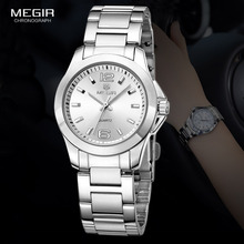 MEGIR Womens Simple Round Dial Quartz Watches Stainless Steel Waterproof Wristwatch for woman MS5006