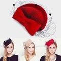 100% chapéu de lã Australiana para as mulheres Noiva Elegante Gaze De Lã Arco Aeromoça Fedora Caps Lady Real das Mulheres chapeau femme