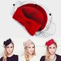 100% sombrero de lana de Australia para las mujeres Novia Elegante Gasa De Lana Arco Azafata Fedora de la Mujer Caps Señora Royal chapeau femme
