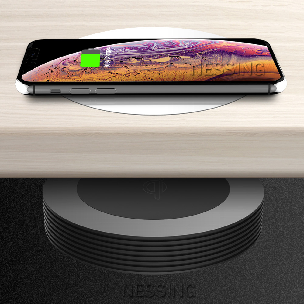 Long Distance Wireless Charger Pad Desktop Coffee Furniture Office Hide QI Wireless Charging Base For IPhone 8 X Samsung General-in Mobile Phone Chargers from Cellphones & Telecommunications    1