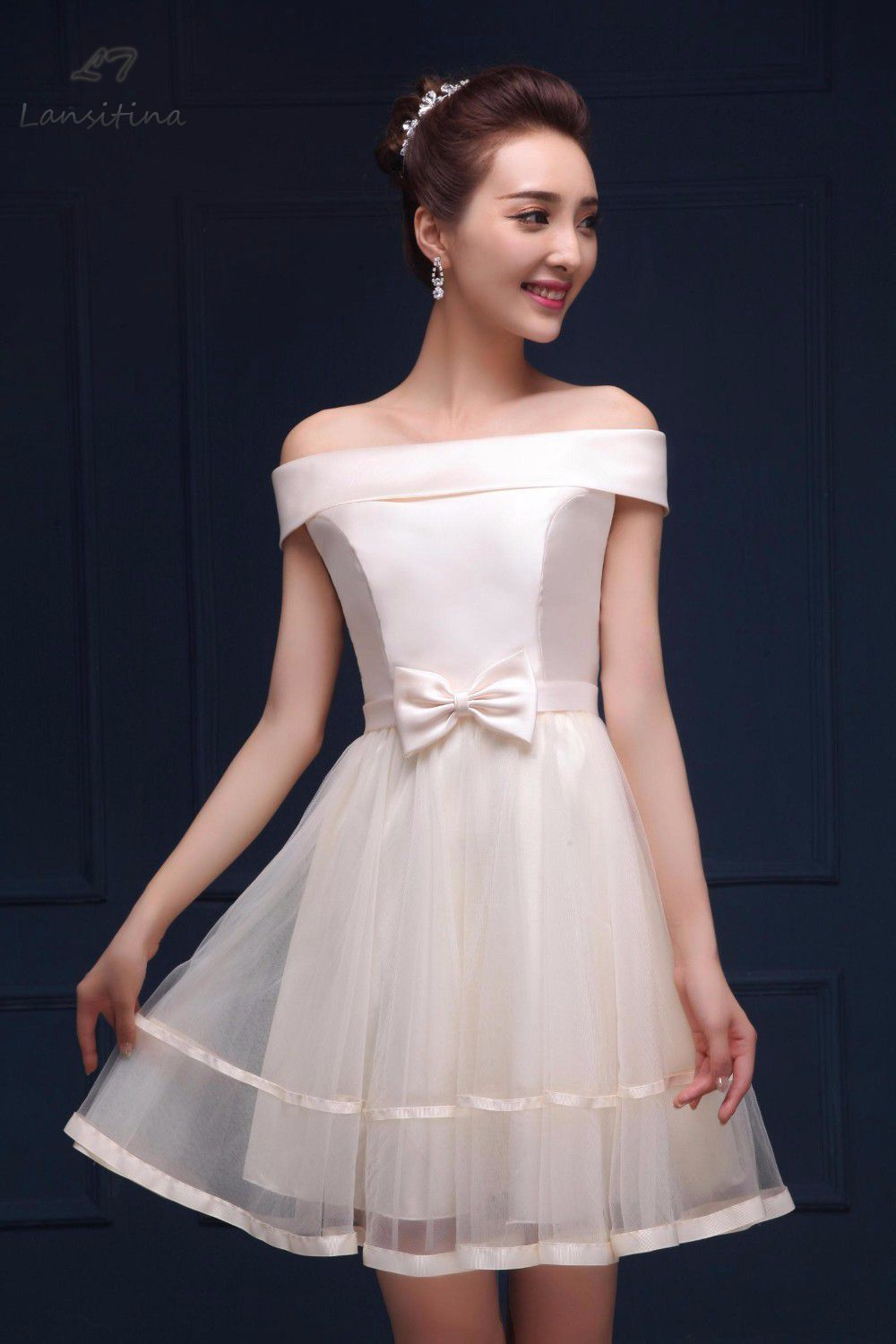 Compare prices on bridesmaid dress prom dress online shoppingbuy 2017 new style net mini bridesmaid dress cheap bow a line party prom dresses junior ombrellifo Images