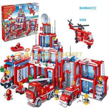 Bangbao Model building kit compatible with lego city fire station 3D blocks Educational model building toys