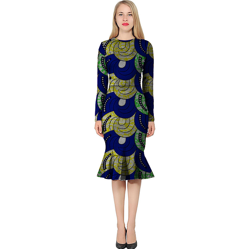 Fashion long sleeve dashiki dress slim african dresses beautiful Trumpet / Mermaid dress customized for women to party/wedding