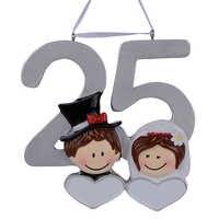 Personalisierte Harz Diy Memorial Weihnachten Ornamente 25th Silber Hochzeit Jahrestag Geschenke Für Hochzeit Decor Valentinstag Geschenke